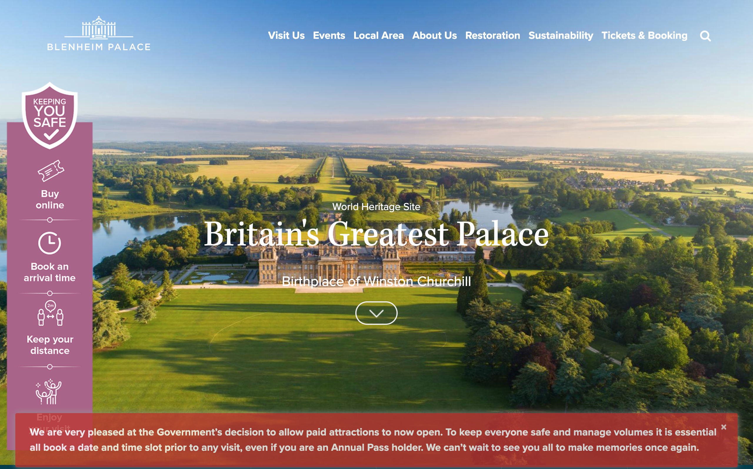 The homepage of Blenheim Palace makes clear what visitors need to do, uses icons, addresses members, and still show the beauty of the attraction.
