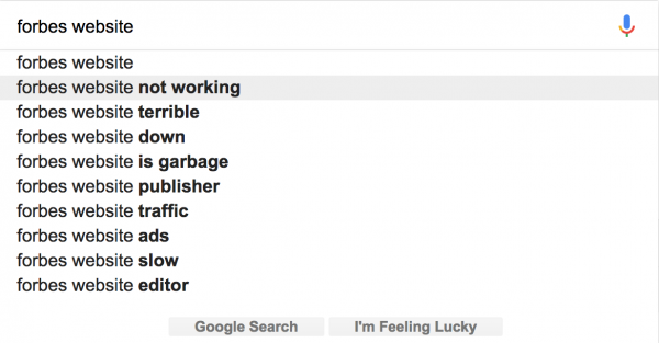 Forbes website google search results
