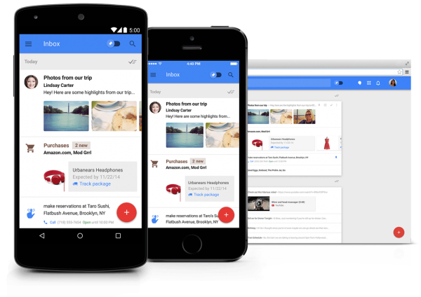Google Inbox screens