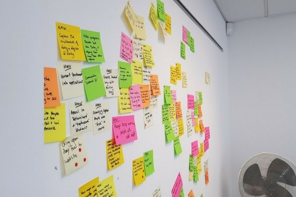 Wall covered in sticky notes