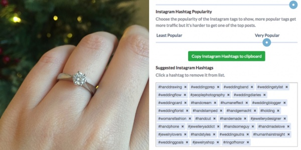 Ring and suggested hashtags