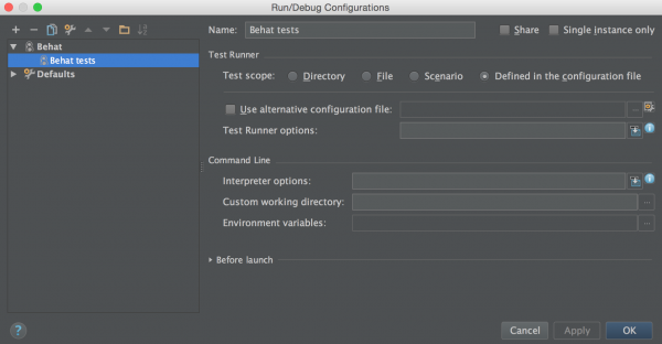 PHPStorm Run Configuration for Behat