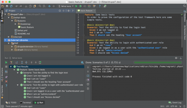 PHPStorm running Behat tests
