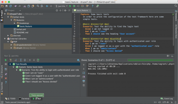 PHPStorm running just one Behat test