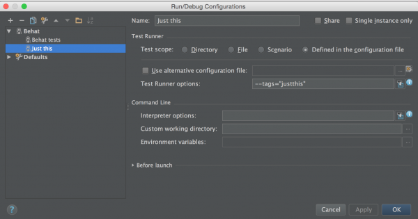 PHPStorm Run Configuration for Behat with tags