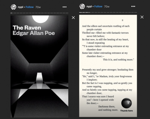 The NYPL published The Raven by Edgar Allen Poe as a story on Instagram