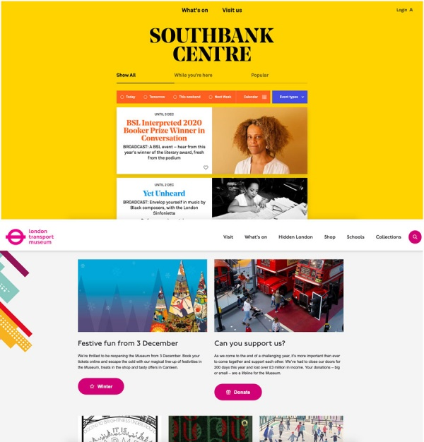 brand new websites for Southbank Centre and London Trasnport Museum