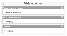 Sample screenshot for the configuration of a panels page listing recent content