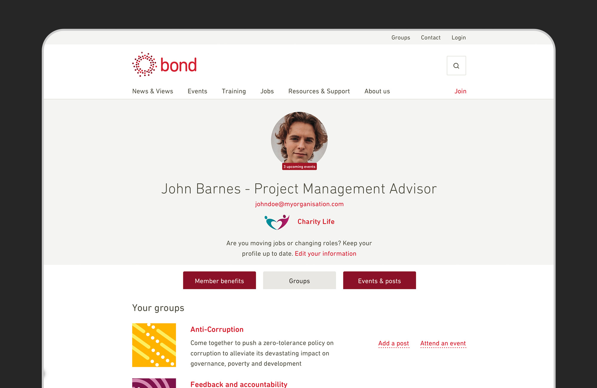 Bond website screenshot